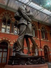 St Pancras International railway station (Camera Travels - Please read my Profile. Happy to ) Tags: hello london clock station st by paul artist day place or meeting railway international british goodbye beneath pancras stands designed the