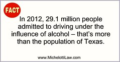 FACT: In 2012, 29.1 million people admitted to driving under the influence of alcohol - that's more than the population of Texas. READ MORE: https://ncadd.org/about-addiction/driving-while-impaired-alcohol-and-drugs ******************************* #Michel (Michelotti and Associates, Ltd) Tags: chicago illinois divorce kanecounty lawyers attorney cookcounty lakecounty bankruptcy dupagecounty estateplanning willcounty assetprotection irsproblems chicagoattorney foreclosuredefense chicagolawfirm estateplanningchicago josephmichelotti michelottilawfirm