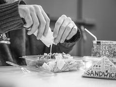 lunch time (mickhiro) Tags: white black lunch lumix noir hand sauce panasonic 25 f18 mains blanc salade g7
