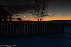 Down by the Frozen Riverside (Wade.J.) Tags: park sunset orange lake snow ice river evening frozen twilight sundown dusk snowy frosty brilliant gander tamron2875 wadejanes