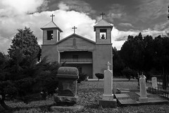 Immaculate Conception (jwoodphoto) Tags: bw newmexico church cemetery graveyard blackwhite catholic religion christianity tombstones tome immaculateconception jwoodphoto