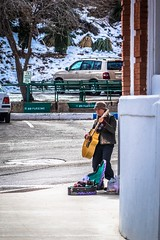 Christa Lee, busking in Bisbee, AZ.