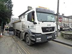 P1080476 (smith.rodney74) Tags: noentry trafficcones tyretracks truckdriver terracedhouses asphaltlayer highvizjacket ex62okz