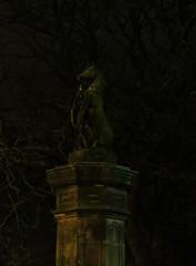 Edinburgh Unicorn (tom_2014) Tags: uk greatbritain light art public night dark scotland edinburgh europe symbol unitedkingdom britain scottish eu publicart unicorn plinth themeadows nationalsymbol unicornstatue scottishsymbol