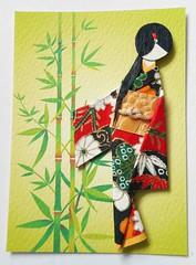 ATC1307 - Bamboo geisha (tengds) Tags: flowers red white black green leaves atc artisttradingcard asian japanese tan bamboo geisha kimono obi papercraft japanesepaper washi ningyo artistcard handmadecard chiyogami asiandoll yuzenwashi japanesepaperdoll nailsticker washidoll origamidoll kimonodoll nailartsticker tengds