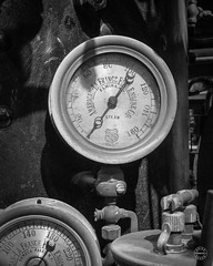A Fine Gauge from the American - La France Fire Engine Company (brianloganphoto) Tags: new york city nyc newyorkcity portrait bw newyork black monochrome architecture america unitedstates united north pipes indoor steam northamerica historical states meter gauge tool nyfd conditions regions