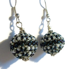 Beaded bead earrings - grey, white and navy seed beads (Bramalfie Beads Etc.) Tags: uk ball stitch seed jewellery bead peyote earrings dangle seller beaded beadwork beadweaving teamcb bramalfiebeadsetc xmasetsyuk