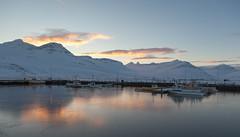 Evening at the harbour (*Jonina*) Tags: mountains reflection evening iceland harbour sland speglun fjll hfnin fskrsfjrur faskrudsfjordur sdegi citrit jnnagurnskarsdttir