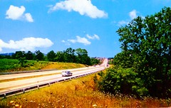 Pennsylvania Turnpike Dauphin County PA (Edge and corner wear) Tags: road vintage pc highway pennsylvania postcard system pa interstate turnpike americas superhighway