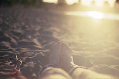 Golden days (moonstream) Tags: summer sun canada film feet beach sunshine youth vancouver sand nikon britishcolumbia joy warmth calm lounging jericho goldenhour