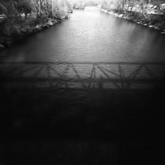 pedestrian bridge reflection (g.h. moran) Tags: 6x6 2000 idaho neopan 100 rodinal zero acros