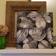 Clam Shells (Art by Trish Jones (theOldPostRoad)) Tags: life road old original shells art beach by painting jones still post trish clam mussels clams
