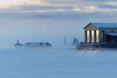 Cold morning (evisdotter) Tags: morning windows winter light mist snow sunrise chapel dis mariehamn åland boathouses sooc mariebad sjökvarteret