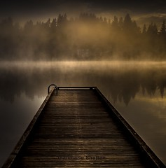 Dark Morning (jeanmarie's photography) Tags: morning light sky mist lake nature water fog architecture clouds reflections landscape dock haze nikon waterscape jeanmarie cottagelake jeanmariesphotography jeanmarieshelton
