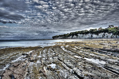 Castor Bay Earth and Sky (Mike Carthew) Tags: newzealand rocks curves cliffs textures hdr