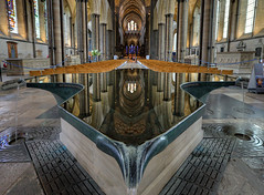 Salisbury Cathedral Font (Non Paratus) Tags: uk england fountain reflections cathedral medieval font salisbury wiltshire salisburycathedral baptismal williampye