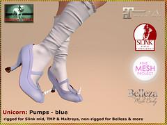 Bliensen - Unicorn - pumps - blue Kopie (Plurabelle Laszlo) Tags: vintage shoes pumps princess fantasy secondlife unicorn enchantment belleza tmp maitreya slink bliensen themeshproject