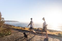 Speed of light (Halans) Tags: sea sun blur speed sunrise ghost running boardwalk runners speedoflight curlcurl