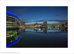 MediaCity at the Quays (andyrousephotography) Tags: blue sunrise dawn salfordquays bbc hour lowry itv mediacityuk