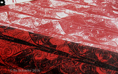 'Blood on the Dragon' + 'A Blood Red Wash': close up of print on basic cotton (Su_G) Tags: swatch dragon medieval scales reds redandwhite mantaray brocade snakeskin fishscales dragonskin animalskin sug bloodred dragonscale dragonscales spoonflower serpentskin bloodonthedragon abloodredwash