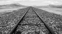 Railway to infinity (yoskinomura) Tags: railroad blackandwhite bw desert infinity dry bolivia rails parallel saltflats