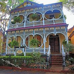 Gingerbread House (Mambo'Dan) Tags: travel house historical gingerbreadhouse savannahga 1899 108yearsold