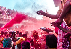Holi Red blast @ Nandgaon,Mathura (vjisin) Tags: travel red people india temple nikon asia colours action joy surreal happiness holi springfestival indianboy mathura nikond3200 uttarpradesh travelphotography incredibleindia indianheritage nandgaon chennaiweekendclickers brajholi cwc497