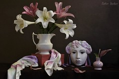April Spectacle (Esther Spektor - Thanks for 10+ millions views..) Tags: pink flowers red stilllife brown white green composition scarf canon petals spring ceramics pattern mask box availablelight decorative silk lavender stilleben april vase ribbon bouquet pitcher theatrical tabletop bodegon naturemorte spectacle naturamorta liliy naturezamorta creativephotography artisticphoto estherspektor
