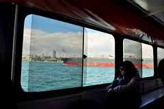 Big ship, dirty window (D. P. S.) Tags: water girl turkey ship outdoor bosphorus