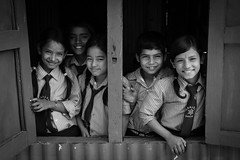 Schoolchildren, Barabise (Byron James Bignell) Tags: school nepal blackandwhite bw monochrome blackwhite schoolgirls schoolboys