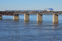Waves over the river (Michael Berry Railfan) Tags: train quebec montreal lasalle commutertrain bombardier amt passengertrain emd gmd f59phi agencemtropolitainedetransport adirondacksub amt1327 amt84