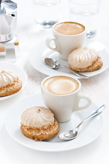 coffee and cakes (cook_inspire) Tags: morning food brown white black cup coffee cake closeup breakfast menu dessert wooden cafe healthy natural drink sweet eating background traditional beverage sugar gourmet delicious biscuit foam bakery pastry mug espresso taste concept cafeteria caffeine cappuccino luxury confectionery aroma froth