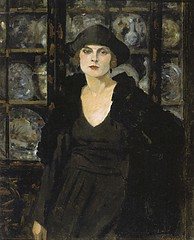 Woman in black, 1922 // by Ernst Oppler (mike catalonian) Tags: 1920s portrait female germany painting 1922 threequarterslength ernstoppler