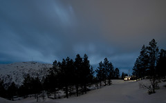 Almost there (Anders_3) Tags: blue winter sky moon mountain snow norway pine night forest norge cabin woods norwegen crosscountry xc sirdal vestagder nikond700 skiingtracks furusen