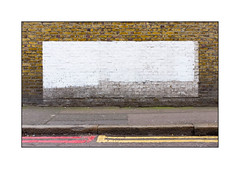 Painted out Graffiti, South London, England. (Joseph O'Malley64) Tags: tarmac patchwork pointing brickwork doubleyellowlines redroute noparkingatanytime paintout dampcourse nostoppingatanytime thebuff whiteemulsion granitekerbing butwhereisthegraffiti