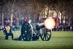Fire!!! (James Waghorn) Tags: city england urban london soldier army spring nikon gun military smoke royal queen hydepark rha forces armed royalartillery royalhorseartillery kingstroop lr6 41gunsalute d7100 topazclarity tamronsp70300f456vcusd