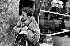 Michigan Avenue 1 (draketoulouse) Tags: street city people urban blackandwhite chicago reflection monochrome shop michigan streetphotography ave peole magnificentmile