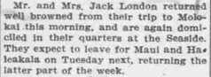 Jack London Returned from Molokai (UH Manoa Library) Tags: news history vintage hawaii newspaper ad books historic advertisement historical microfilm dns digitization digitisation chroniclingamerica ndnp