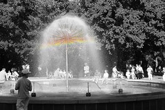 fountain (MrLipsky) Tags: park people bw water fountain monochrome rainbow