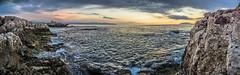 Panorama from Milazzo (SalvoSimon3) Tags: sunset panorama rocks sicily photomerge sicilia milazzo seapanorama sonyalphaitalia selp1650 sonyalpha5100