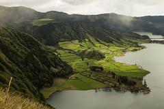 Caldera (Steve Vallis) Tags: trees lake portugal clouds landscape caldera fields volcanic azores