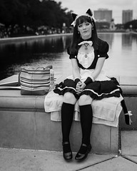 French Maid (Ron Scubadiver's Wild Life) Tags: park street woman water girl festival japan french 50mm costume nikon texas candid houston style apron maid hermann