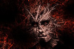 Father Nature (Danieldevad) Tags: red portrait naturaleza man black color nature face rojo artistic retrato negro cara creative fantasy fantasia hombre artistico creativo