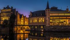 De vismijn (JorisDierickxx) Tags: bridge blue architecture buildings river dawn lights restaurant evening canal europe belgium lieve hour lys ghent gent oude gand leie flanders midieval vlaanderen vismijn appelbrugparkje appelbrug