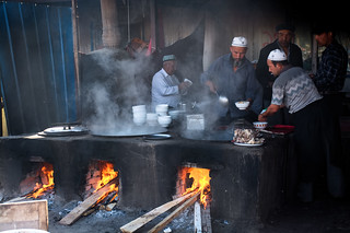 Uyghur Restaurant at Livestock Market in Kashgar China