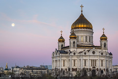 Full Moon Moscow (vladimir.vozdvizhenskiy) Tags: moon landscape dawn cathedral moscow moonset    christthesaviorcathedral