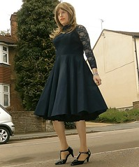 Stepping Out Front (Amber :-)) Tags: dress navy crossdressing tgirl transvestite