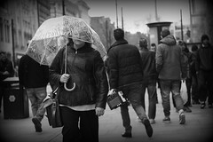 Manchester (338) (benmet47) Tags: street city people urban bw woman umbrella blackwhite