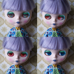 eye colors (LAT_te) Tags: new haircut eye love vintage hair for outfit sand factory pattern eyelashes purple post handmade ooak stripes fake carving pop chips retro lilac panic 70s nostalgic blythe custom tbl sell takara tomi matte adoption hasbro repaint