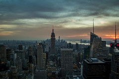 Top of the Rock (christopher.gaida) Tags: new york city nyc building rock clouds skyscraper studio observation nbc sundown state top center empire rockefeller totr